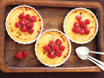 Sweet Corn Custard with Raspberries