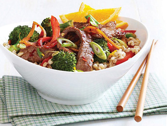 Spicy Beef and Broccoli Stir-Fry with Barley