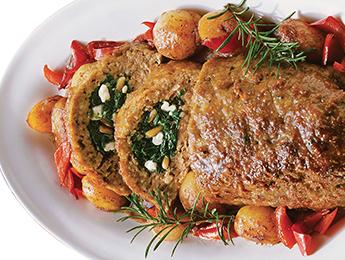 Greek-Style Stuffed Chicken Meatloaf