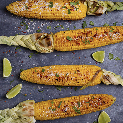 Grilled Corn with Cilantro Cheese Butter
