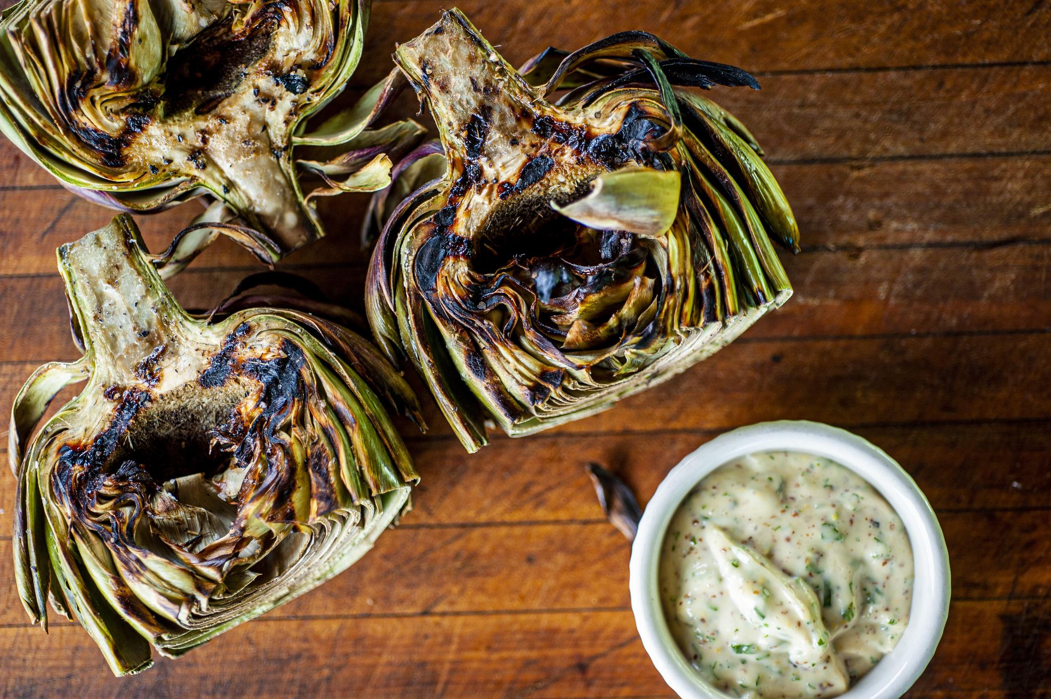 Grilled Garlic Tarragon Artichokes