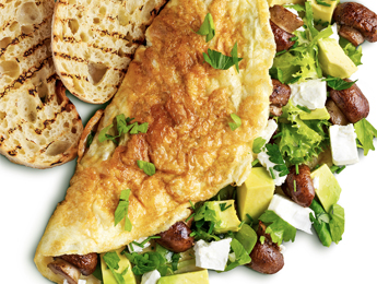 Omelette with Avocado, Spinach, Mushrooms & Cheese