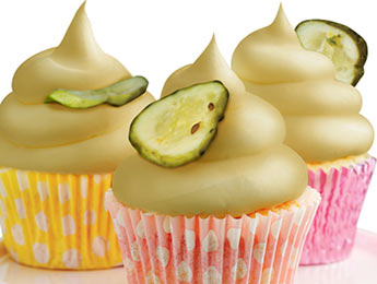 Pickle Cupcakes w/PB Frosting