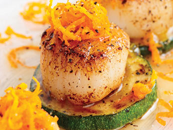 Seared Scallops on Zucchini w/Orange Zest