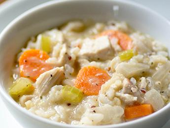 Healthier Creamy Chicken & Rice Soup
