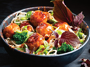 Honey Glazed Chicken Meatballs with Noodles