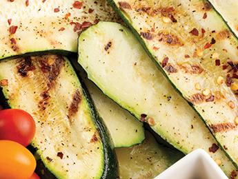 Grilled Zucchini w/ Balsamic Onion Hommus