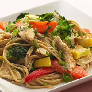Peanut Noodles with Shredded Chicken & Vegetables